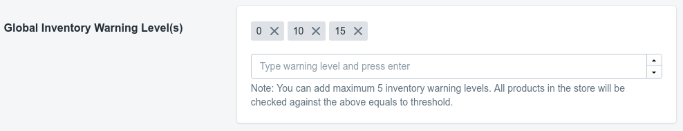 NotifyMe Global Inventory Warning Level(s)