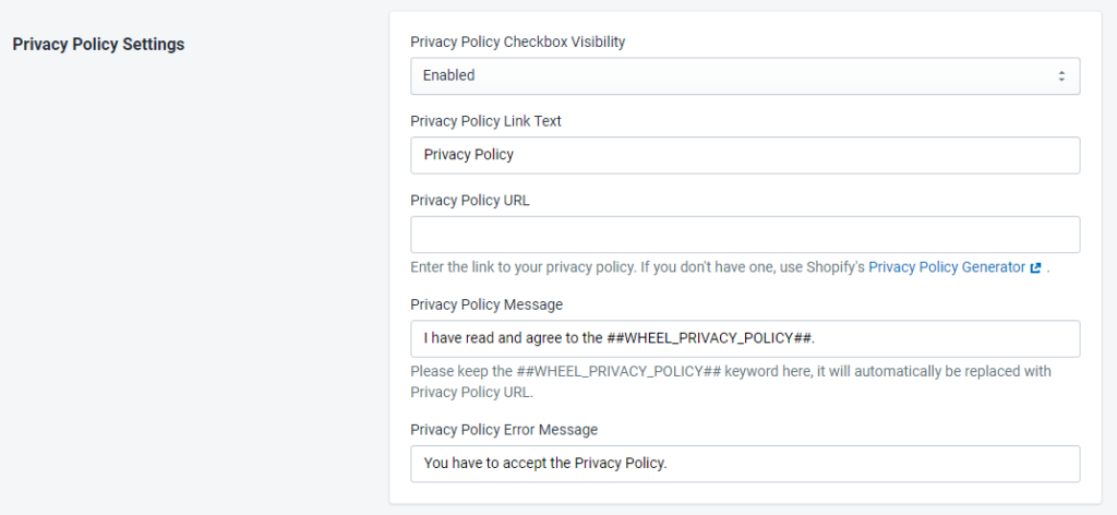PromoteMe Privacy Policy Settings