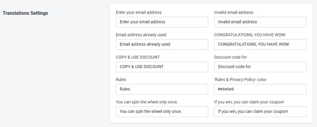 PromoteMe Privacy Policy Translation Setting