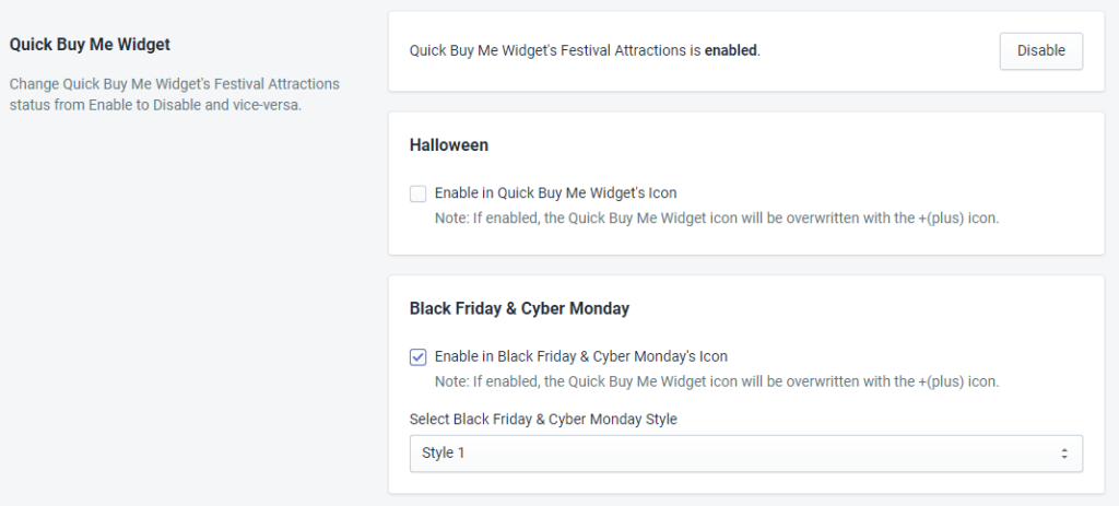 Quick Buy Me Widget Status For Black Friday And Cyber Monday By MakeProSimp