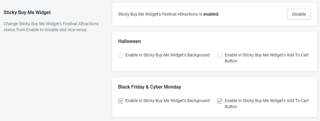 Sticky Buy Me Widget Status For Black Friday And Cyber Monday By MakeProSimp