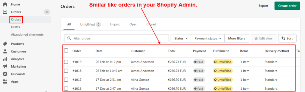 Order-List-On-Shopify